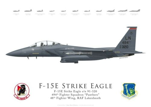 Lakenheath 48th FW by G. Marie 494th FS Print F-15E Strike Eagle