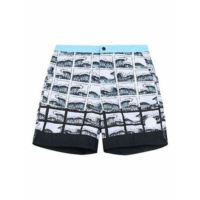 KENZO PARIS Men's SWIM Shorts BEACH Trunks SQUARE Wave Water PRINT L Free Ship