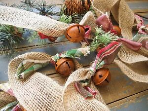 RUSTIC GARLAND~RUSTY BELL~TREE GARLAND~ BURLAP GARLAND ~ HOLIDAY PLAID