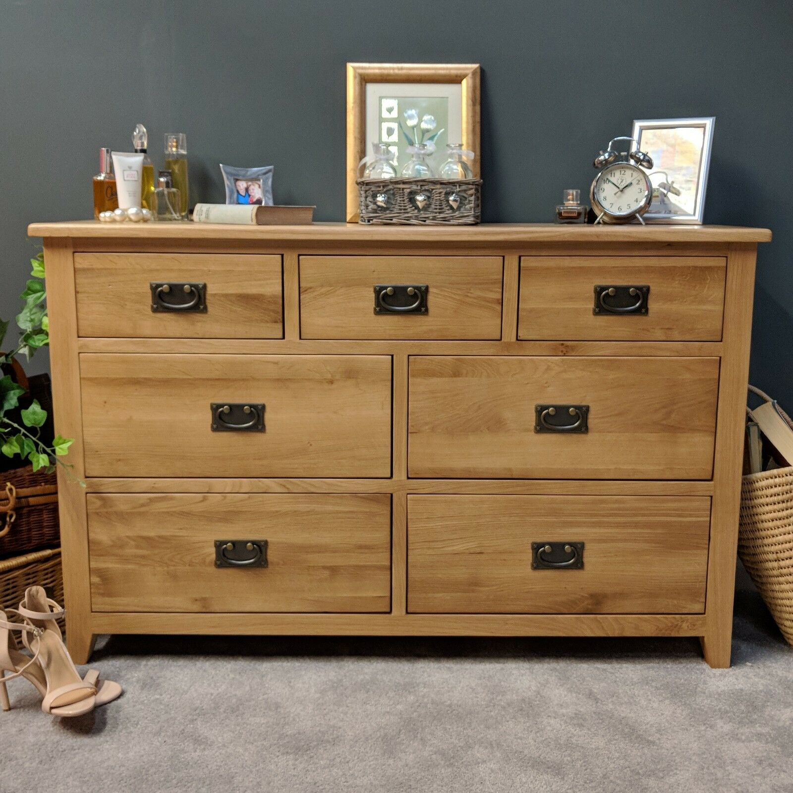 Large Solid Oak Sideboard Wooden Storage Cabinet Chest Of 6 Drawer Cupboard Unit