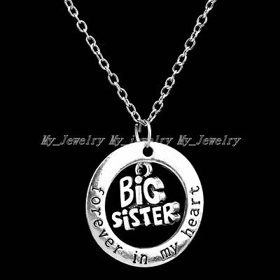 Forever In My Heart Pendant Necklace Antique Silver Symbols Family Member Words