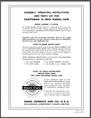 "Sears Craftsman 12/"" Radial Arm Saw Manual No.113.29520"