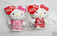 Sanrio Hello Kitty Cake Topper 3 Inch Pink Red Ribbon Cupcake Both Toppers