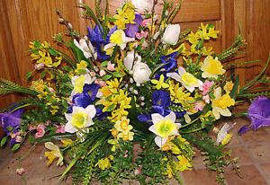 Headstone Cemetery Tombstone Saddle Spring Easter Mom Silk Flowers Iris Tulips