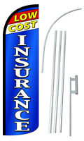 Low Cost Insurance Flag Kit 3' Wide Windless Swooper Feather Advertising Sign