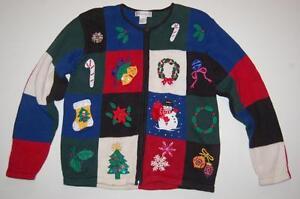 d8db9b5974 Christmas Women s Sweater Patchtwork sz L Zipper Front Colorful ...