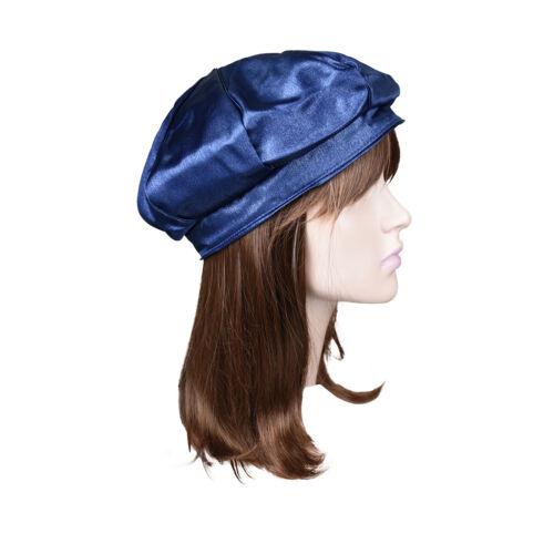 New Cute Womens Beret Blue Satin Hat Hair Cover Fashion Head Wear