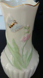 Lenox-Porcelain-Butterfly-Floral-Bud-Vase-5-75-034-tall-x-3-034-wide-Gold-Trim