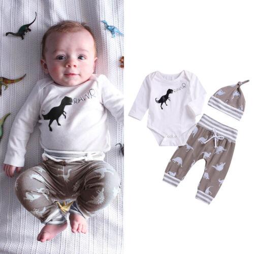 Toddler Infant Baby Girl Boy Dinosaur Romper Tops Bodysuit Pants Hat Clothes Set