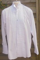 "Formal Tailor shirt white dress evening DOUBLE cuffs wing collar 15"" pleats stud"