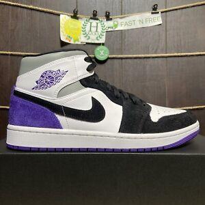 Nike Air Jordan 1 Retro Mid SE Court Purple White Black 852542-105 Men's Size 11
