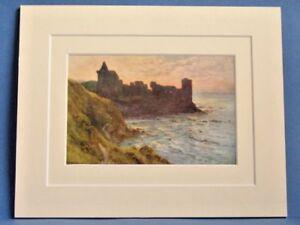 ST-ANDREWS-CASTLE-FIFE-SCOTLAND-VINTAGE-DOUBLE-MOUNTED-HASLEHUST-PRINT-c1930