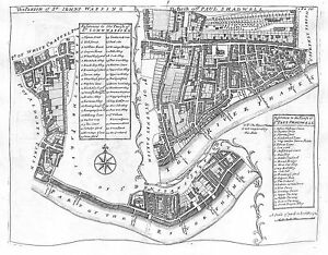 Antique maps, Parishes of St Johns Wapping / Parish of St Paul Shadwell