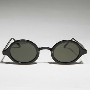 Art-Deco-Oval-Sunglass-with-Embossed-Metal-Temples-Black-Green-Lens-Degas