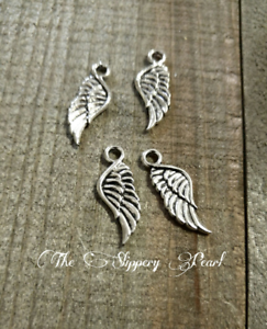 10 Angel Wing Charms Antique Silver Tone 2 Sided SC1388