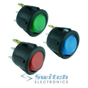 Red-Blue-Green-illuminated-Round-Circular-Rocker-Switches-SPST-12V-20A
