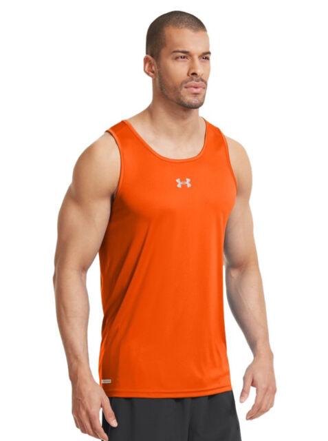 d0d7173b Under Armour HeatGear Men's Fitted Tank top Running Orange Shirt [defected]