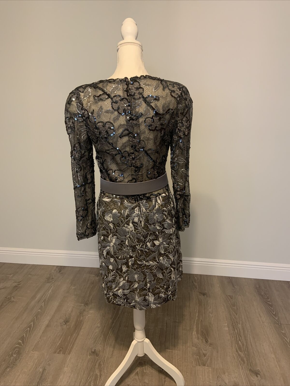 Arnold Scaasi Vintage Couture Silver Lace Dress w… - image 6
