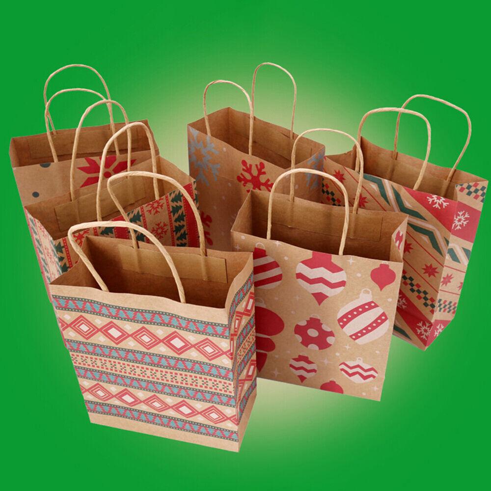 HB- BL_ Christmas New Year Kraft Paper Candy Gift Box Bag ...
