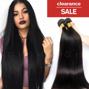 CLEARANCE-Straight-Indian-Virgin-Human-Hair-Extensions-4-Bundles-Weave-Weft-HG