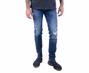 DIESEL-troxer-R8KJ4-Jeans-Denim-Uomo-Effetto-Invecchiato-Stretch-Skinny-Slim-Fit-Blu