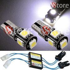 2 Lampade T10 LED 5 SMD No Errore CDB Luci BIANCO Xenon CANBUS + 2 RESISTENZE