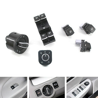 6PCS Chrome Window Headlight Mirror Switch Set for VW Passat B6 Jetta 5ND959565A