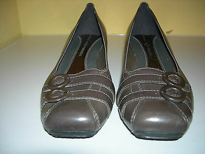 CLARKS Damen Soft Schuhe Pumps Leder Braun-Beige Gr.41(7) Neuwertig