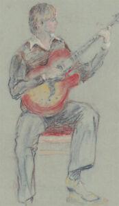 Ann Matthews - 20th Century Pastel, Portrait Study of a Man Playing the Guitar