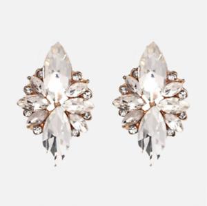 Zara Stud Declaración de moda estilo de cristal claro Oro Plateado Pendientes Estilo