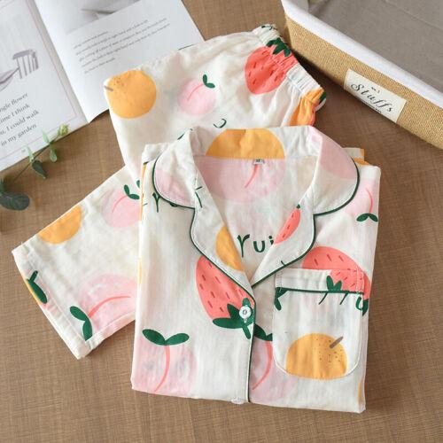Details about  /Autumn Womens Long Sleeve Pyjama Set 100/% Gauze Cotton Printing PJ/'S Sleepwear