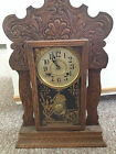 Beautiful Vintage Ornate Wood Mantle/Shelf Clock New Haven Clock Co