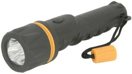 Mercury 410.326 Heavy Duty Weather Proof Rubber Battery Powered LED Torch Black