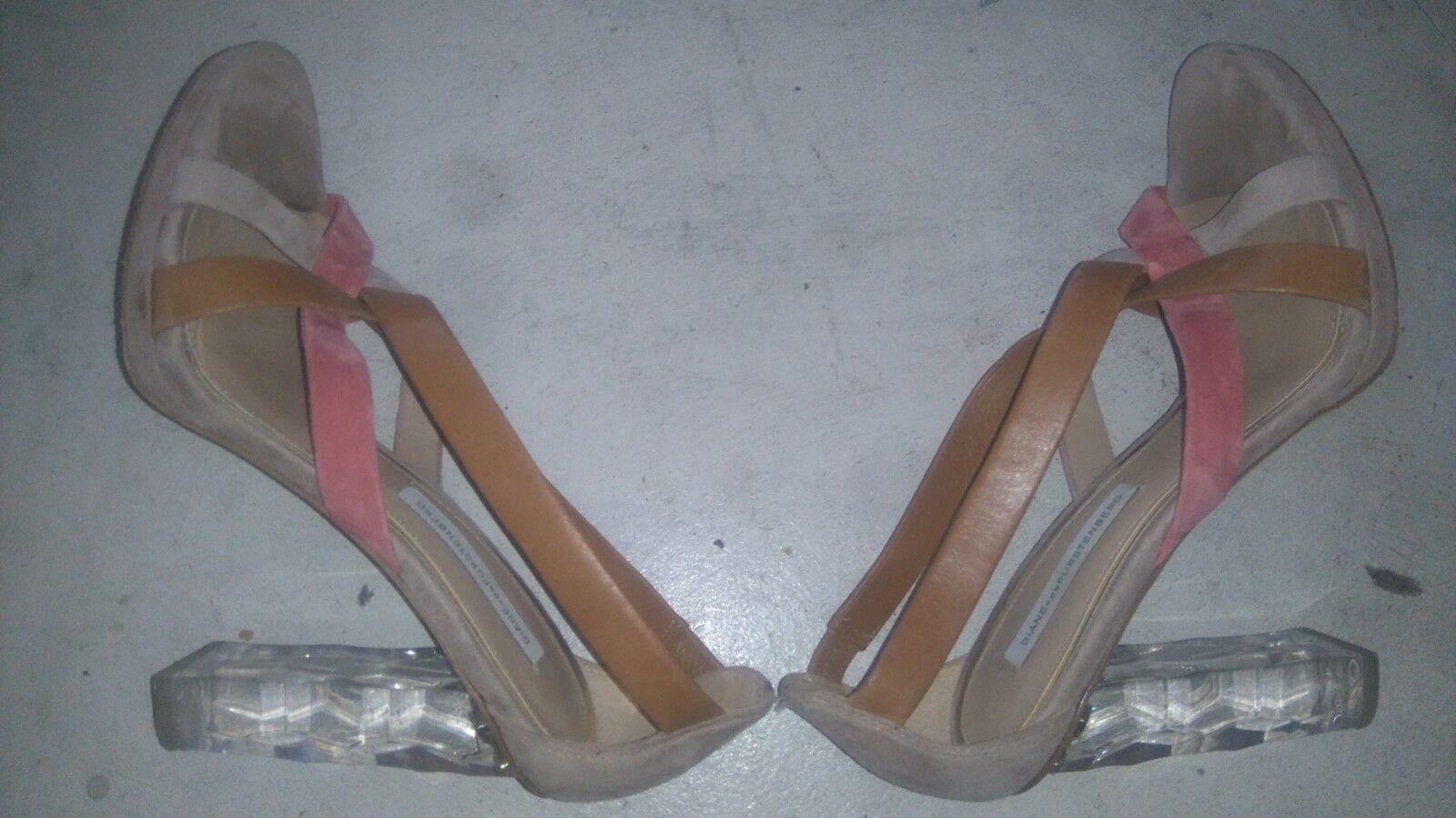 Diane Diane Diane von furstenberg Ibiza runaway Lucite Heel size 5 37 beige straps f19864