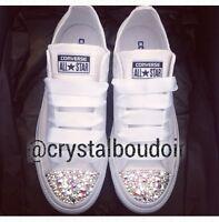 Custom/Personalised White Mono Crystal Bling Wedding Bride Bridesmaid Converse