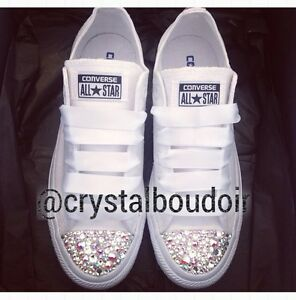 ab7c102ce3f5 Image is loading Custom-Personalised-Crystal-Converse -Bling-Wedding-Bride-Bridesmaids-