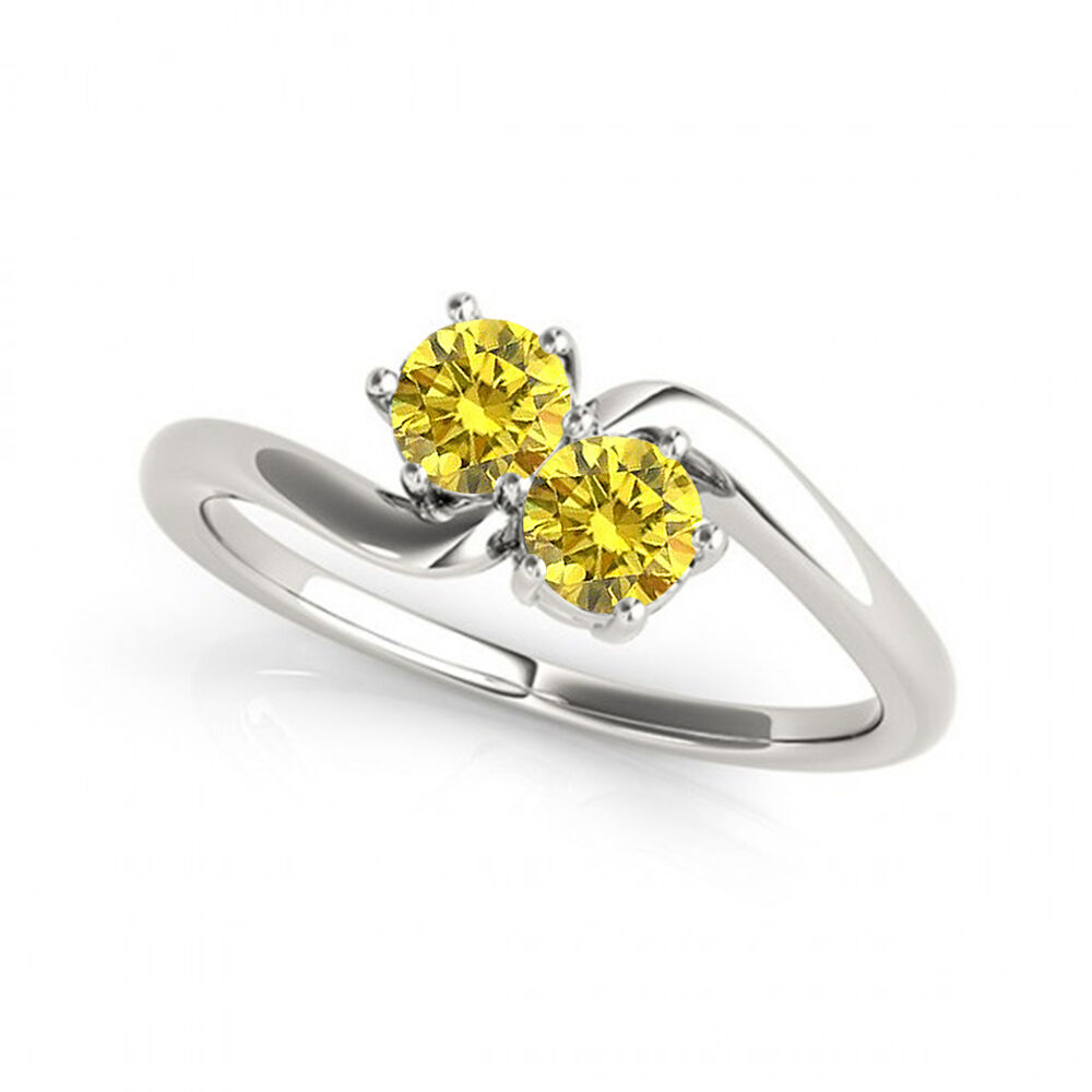 1 Carat Yellow VS2-SI1 Diamond Solitaire Engagement Ring 14k White gold