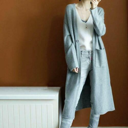 Women/'s Autumn Cashmere Cardigan Long Sweater With Pockets Loose Coat S-XXL SIZE