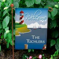 Personalized Lighthouse Garden Flag Family Name Water Themed Flag Yard Decor