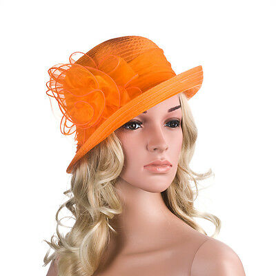 Solid Color Womens Summer Organza Bowler Sun Hat Kentucky Derby Tea Party A267