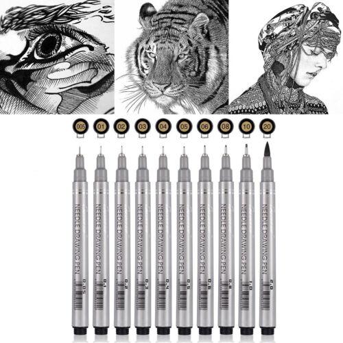 10PC Fine Liner Pens Superior Needle Art Drawing Set Signature Drawing Ink Brush