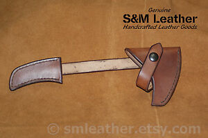 Brown-Tomahawk-Leather-Sheath-Mask-Hawk-for-CRKT-Columbia-River-Woods-Kangee