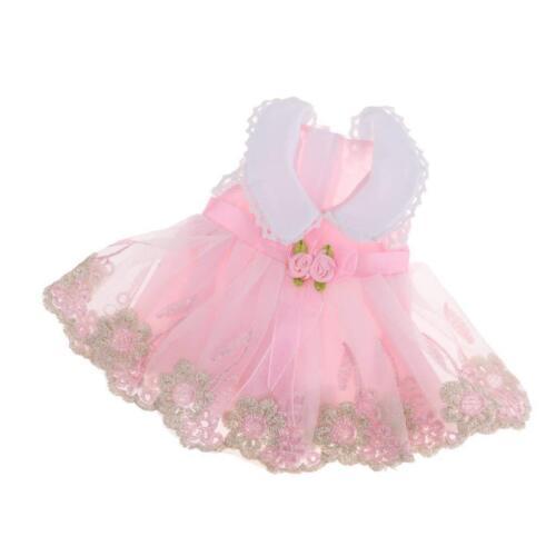 Puppen Kleid rosa Festkleid mit Stickerei für Puppen von 28-33 cm  2202...