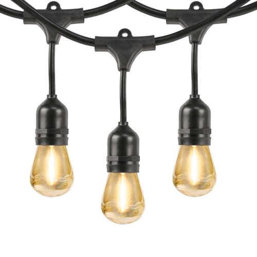 Feit 48/' String Light Set Commercial grade 14//3 SJTW cord 24 bulb 12 extra