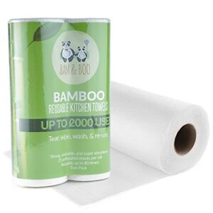 Image Is Loading 2 X Reusable Bamboo Kitchen Towel Roll Washable
