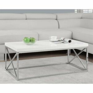 Monarch Coffee Table In Glossy White And Chrome by Monarch