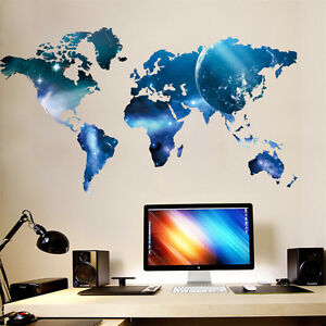 Blue planet world map removable wall sticker art vinyl decal decor la imagen se est cargando planeta azul mapamundi extraible pegatinas de pared arte gumiabroncs Images