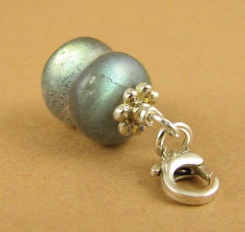 Fire shine Blue green Labradorite clip-on charm Sterling silver 925.