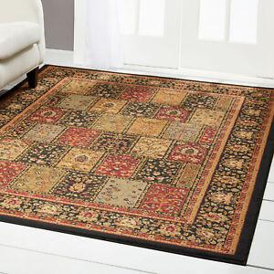 Traditional Burgundy Black Beige Floral Area Rug Persian Patchwork