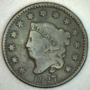 1827-Coronet-Head-US-One-Cent-Penny-Coin-1c-Large-Cent-Copper-Coin-Good